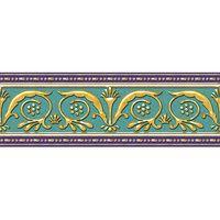 Золотой бирюзовый 250х90 Бордюр : 1721 Ceramique Imperiale : Mercado