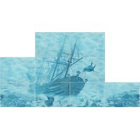 Лазурь бирюзовый 09 корабль 750х1050 Декор панно из 9-ти шт : БерезаКерамика : mercado