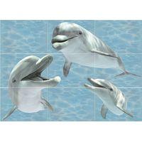 Лазурь бирюзовый 08 дельфин 750х1050 Декор панно из 8-ми шт : БерезаКерамика : mercado