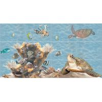 Лазурь бирюзовый 10 морской мир 750х1400 Декор панно из 12-ти шт : БерезаКерамика : mercado